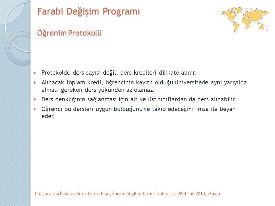 Farabi Değişim Programı Öğrenim Protokolü Protokolde ders sayısı değil, ders kredileri dikkate alınır.