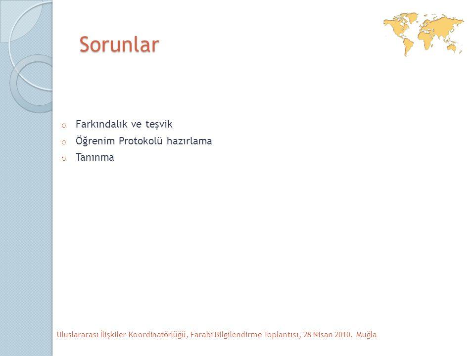 Sorunlar o Farkındalık ve teşvik o Öğrenim Protokolü hazırlama o Tanınma Uluslararası İlişkiler Koordinatörlüğü, Farabi Bilgilendirme Toplantısı, 28 Nisan 2010, Muğla