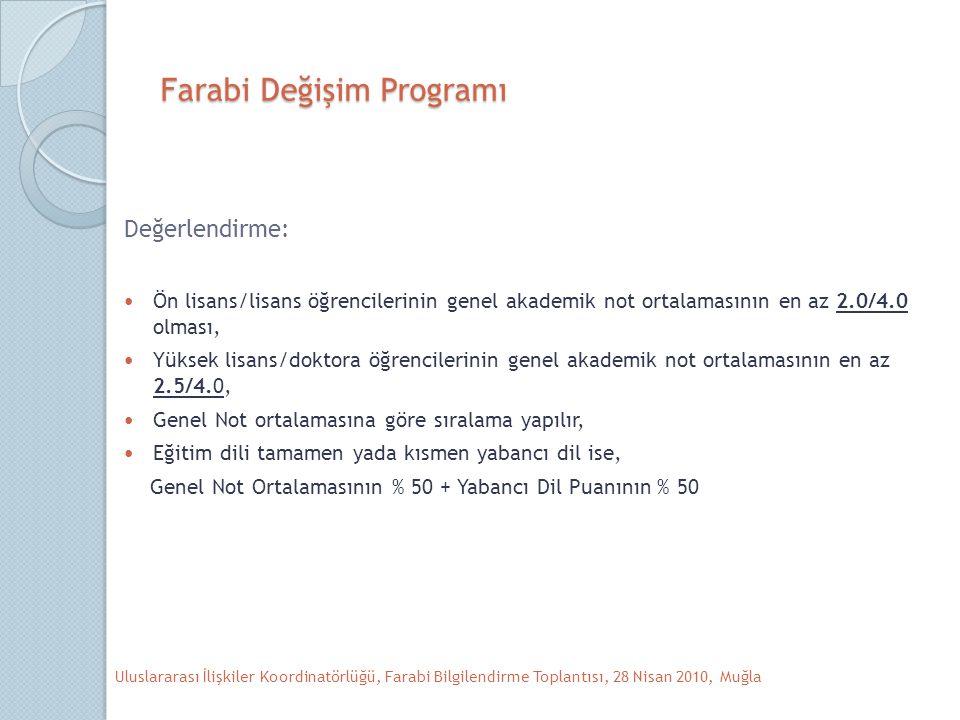 Farabi Değişim Programı Değerlendirme: Ön lisans/lisans öğrencilerinin genel akademik not ortalamasının en az 2.0/4.0 olması, Yüksek lisans/doktora öğrencilerinin genel akademik not ortalamasının en az 2.5/4.0, Genel Not ortalamasına göre sıralama yapılır, Eğitim dili tamamen yada kısmen yabancı dil ise, Genel Not Ortalamasının % 50 + Yabancı Dil Puanının % 50 Uluslararası İlişkiler Koordinatörlüğü, Farabi Bilgilendirme Toplantısı, 28 Nisan 2010, Muğla