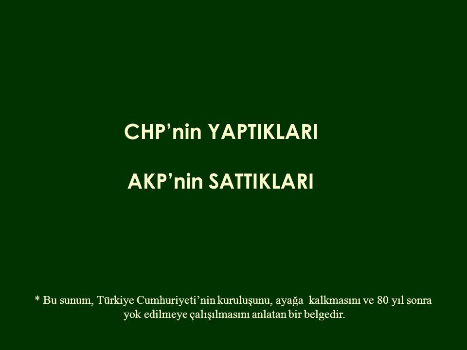 CHP'nin YAPTIKLARI AKP'nin SATTIKLARI * Bu sunum, Türkiye Cumhuriyeti'nin kuruluşunu, ayağa kalkmasını ve 80 yıl sonra yok edilmeye çalışılmasını anlatan bir belgedir.