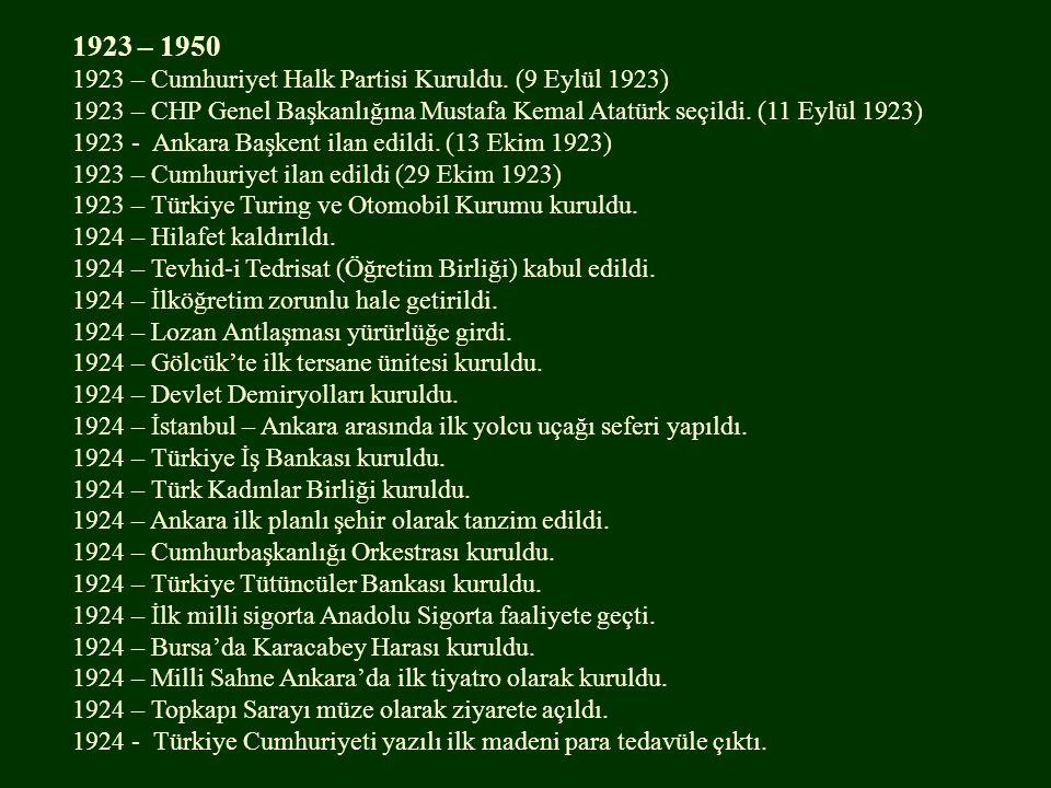 1923 – 1950 1923 – Cumhuriyet Halk Partisi Kuruldu.