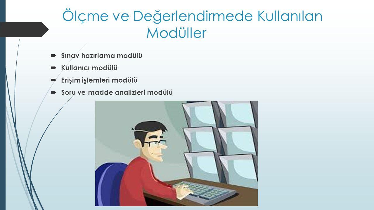 Ölçme ve Değerlendirmede Kullanılan Modüller  Sınav hazırlama modülü  Kullanıcı modülü  Erişim işlemleri modülü  Soru ve madde analizleri modülü