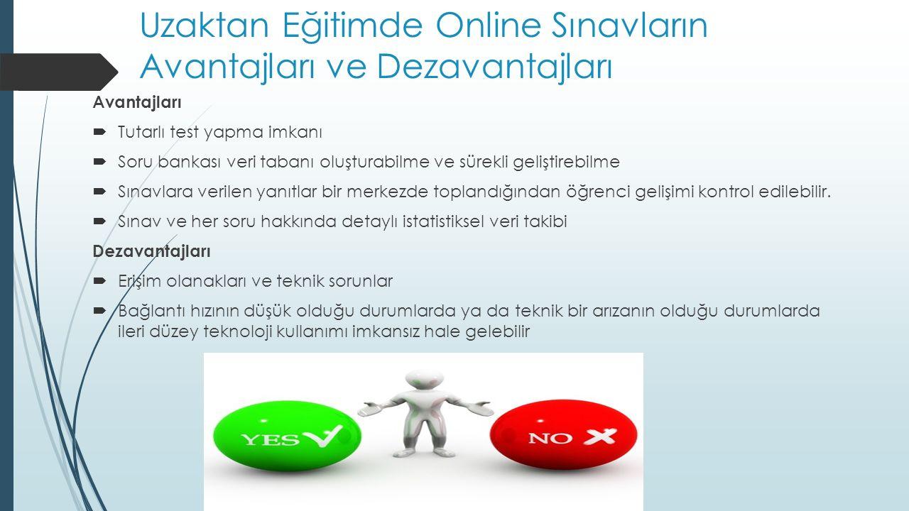 Uzaktan Eğitimde Online Sınavların Avantajları ve Dezavantajları Avantajları  Tutarlı test yapma imkanı  Soru bankası veri tabanı oluşturabilme ve s