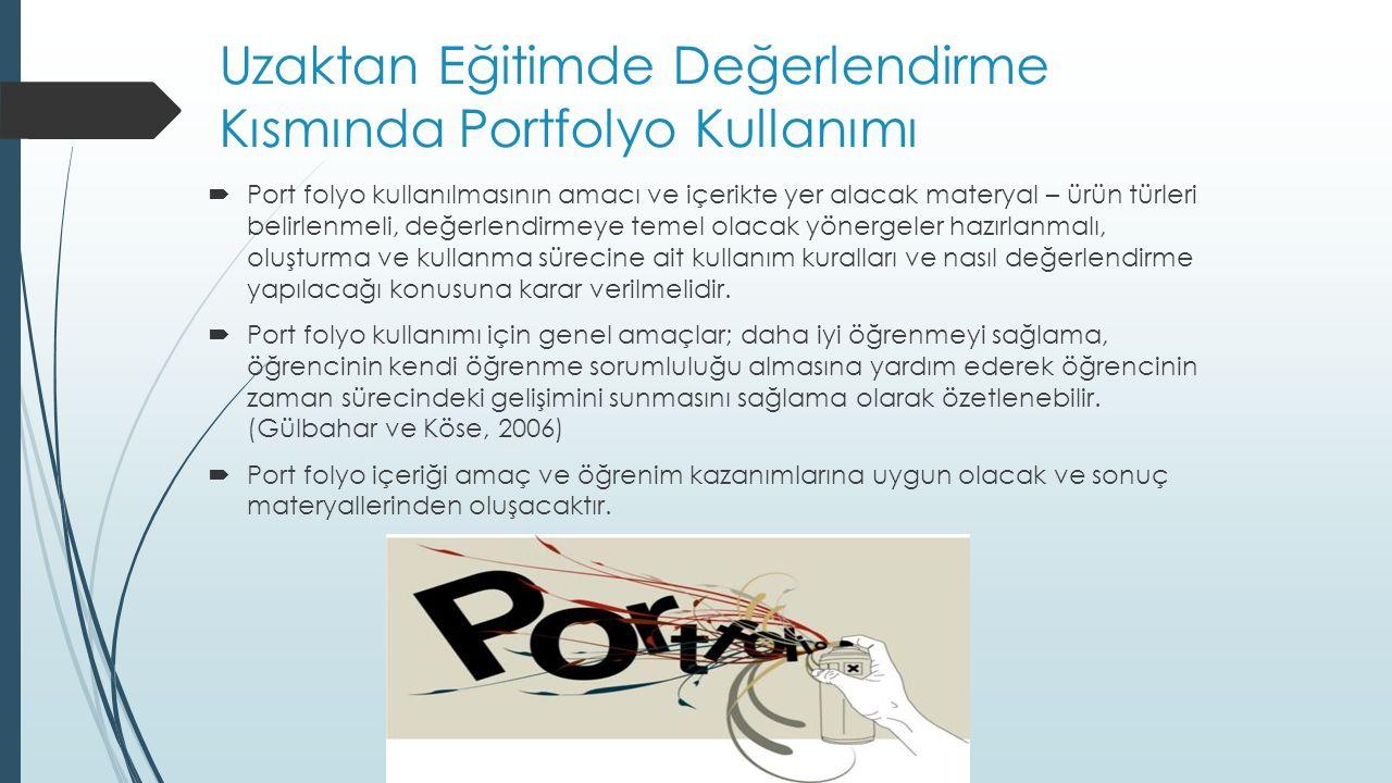 Uzaktan Eğitimde Değerlendirme Kısmında Portfolyo Kullanımı  Port folyo kullanılmasının amacı ve içerikte yer alacak materyal – ürün türleri belirlen