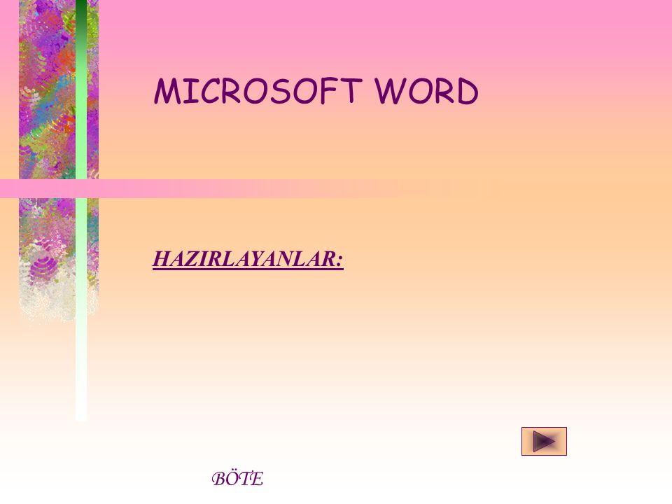 Microsoft Word Programını açmak için izlenmesi gereken yol: Başlat Programlar Microsoft Word Word'de, bir doküman, tez veya kitap yazarken yapabileceğiniz bütün işlemleri bulabilirsiniz.