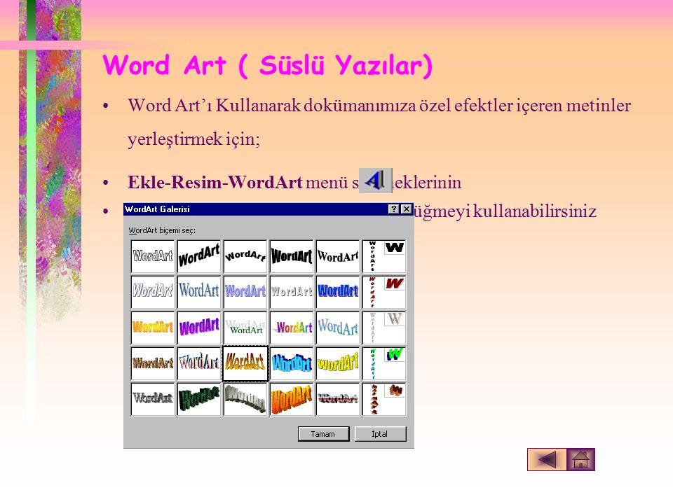 Word Art ( Süslü Yazılar) Word Art'ı Kullanarak dokümanımıza özel efektler içeren metinler yerleştirmek için; Ekle-Resim-WordArt menü seçeneklerinin Veya Çizim araç çubuğundaki düğmeyi kullanabilirsiniz