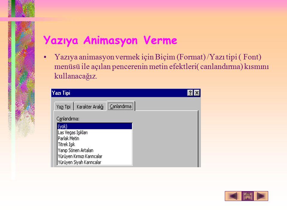 Yazıya Animasyon Verme Yazıya animasyon vermek için Biçim (Format) /Yazı tipi ( Font) menüsü ile açılan pencerenin metin efektleri( canlandırma) kısmını kullanacağız.
