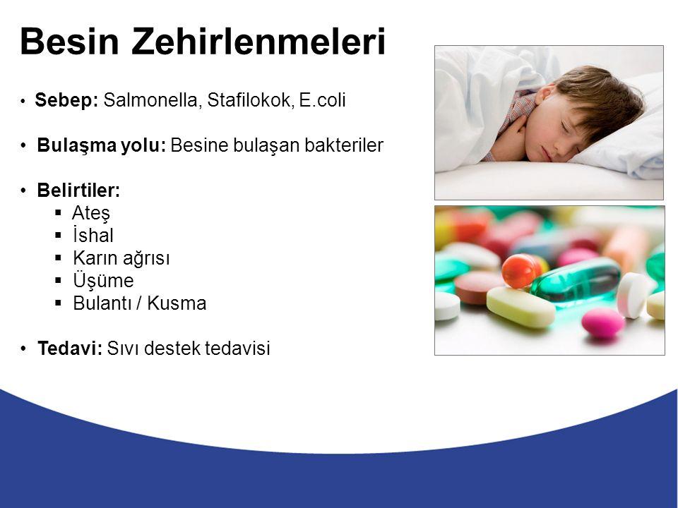 Besin Zehirlenmeleri Sebep: Salmonella, Stafilokok, E.coli Bulaşma yolu: Besine bulaşan bakteriler Belirtiler:  Ateş  İshal  Karın ağrısı  Üşüme  Bulantı / Kusma Tedavi: Sıvı destek tedavisi