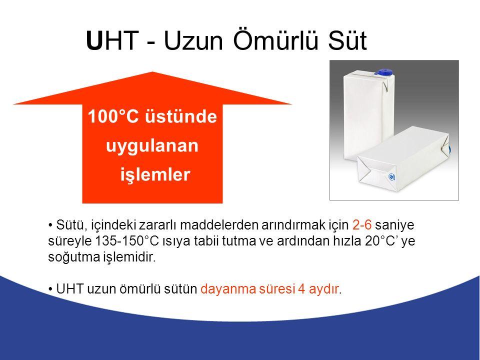 UHT - Uzun Ömürlü Süt 100°C üstünde uygulanan işlemler Sütü, içindeki zararlı maddelerden arındırmak için 2-6 saniye süreyle 135-150°C ısıya tabii tutma ve ardından hızla 20°C' ye soğutma işlemidir.