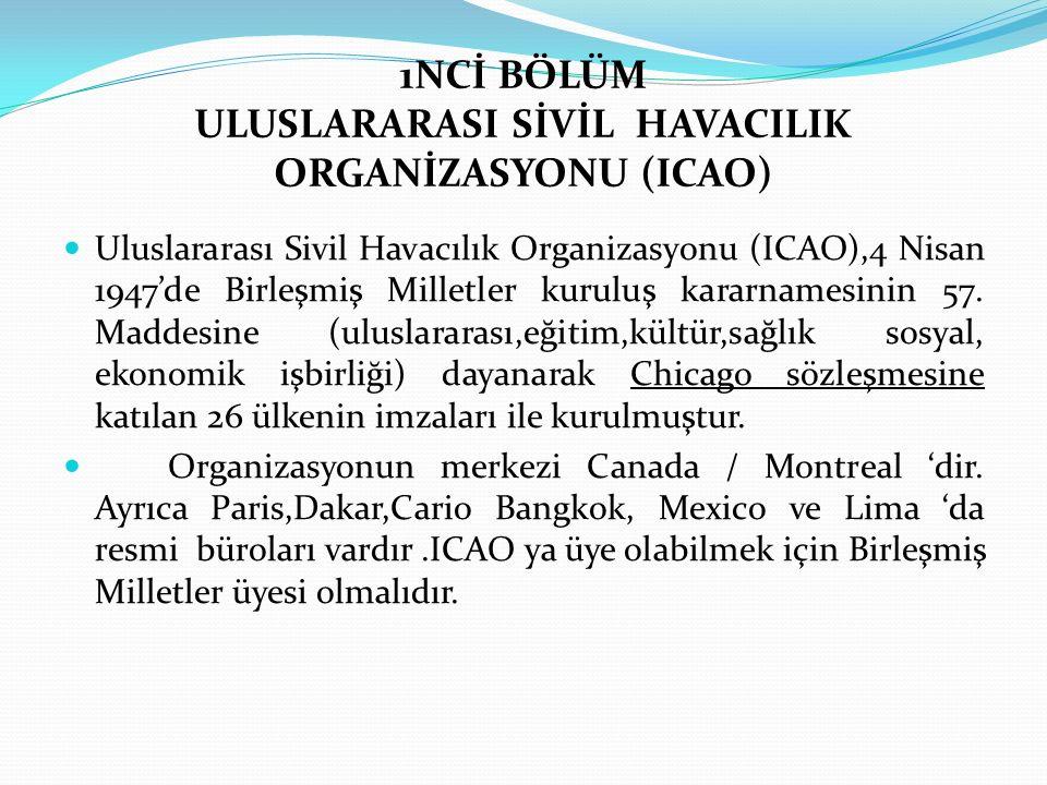 1NCİ BÖLÜM ULUSLARARASI SİVİL HAVACILIK ORGANİZASYONU (ICAO) Uluslararası Sivil Havacılık Organizasyonu (ICAO),4 Nisan 1947'de Birleşmiş Milletler kur