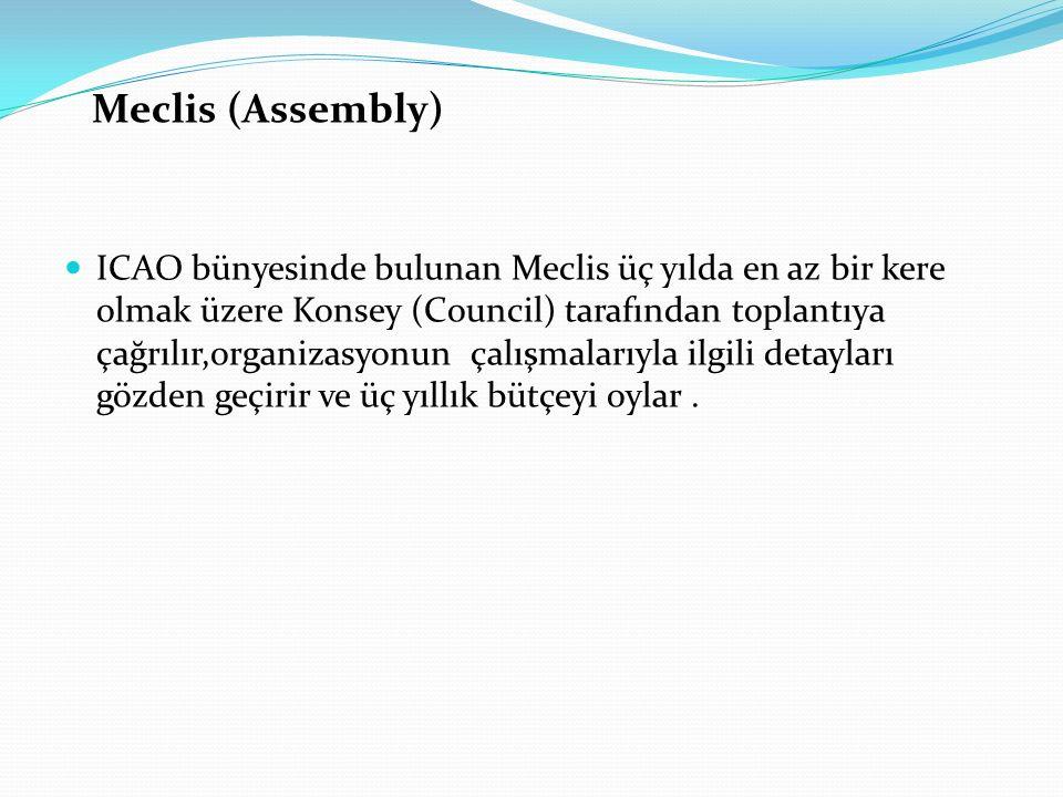 Meclis (Assembly) ICAO bünyesinde bulunan Meclis üç yılda en az bir kere olmak üzere Konsey (Council) tarafından toplantıya çağrılır,organizasyonun ça