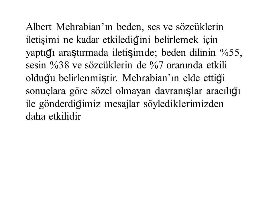 Albert Mehrabian'ın beden, ses ve sözcüklerin iletiş ̧ imi ne kadar etkiledi g ̆ ini belirlemek için yaptı g ̆ ı ara s ̧ tırmada ileti s ̧ imde; beden
