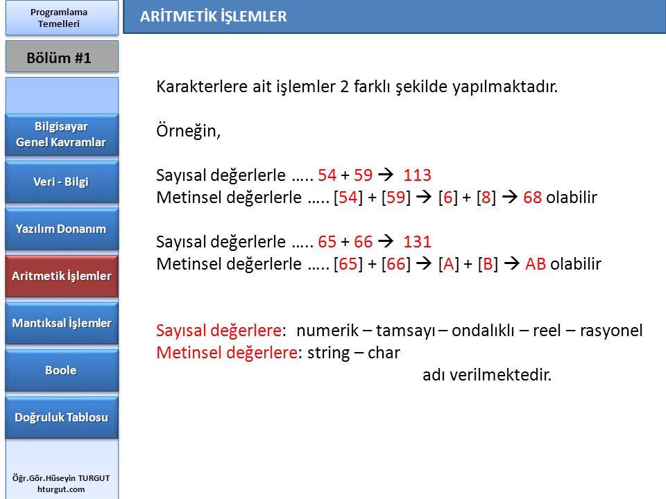 Karakterlere ait işlemler 2 farklı şekilde yapılmaktadır. Örneğin, Sayısal değerlerle ….. 54 + 59  113 Metinsel değerlerle ….. [54] + [59]  [6] + [8