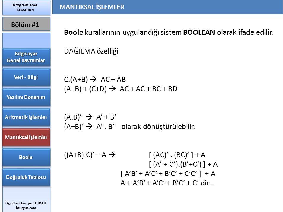 Boole kurallarının uygulandığı sistem BOOLEAN olarak ifade edilir. DAĞILMA özelliği C.(A+B)  AC + AB (A+B) + (C+D)  AC + AC + BC + BD (A.B)'  A' +