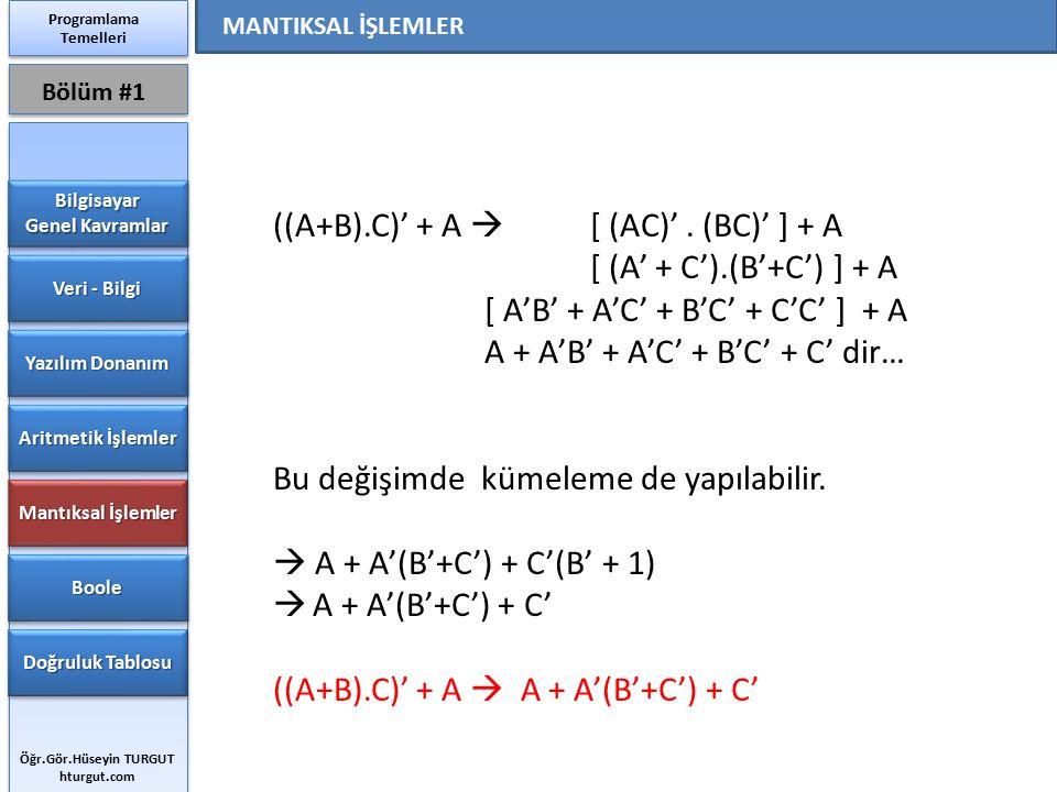 ((A+B).C)' + A  [ (AC)'. (BC)' ] + A [ (A' + C').(B'+C') ] + A [ A'B' + A'C' + B'C' + C'C' ] + A A + A'B' + A'C' + B'C' + C' dir… Bu değişimde kümele