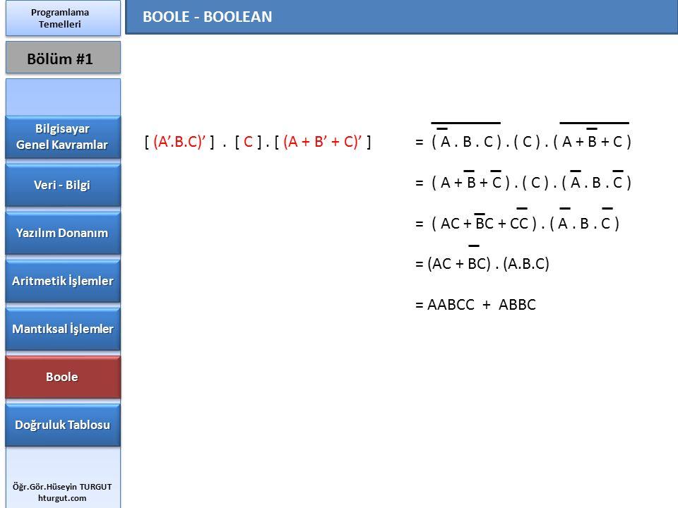 [ (A'.B.C)' ]. [ C ]. [ (A + B' + C)' ] = ( A. B. C ). ( C ). ( A + B + C ) = ( A + B + C ). ( C ). ( A. B. C ) = ( AC + BC + CC ). ( A. B. C ) = (AC