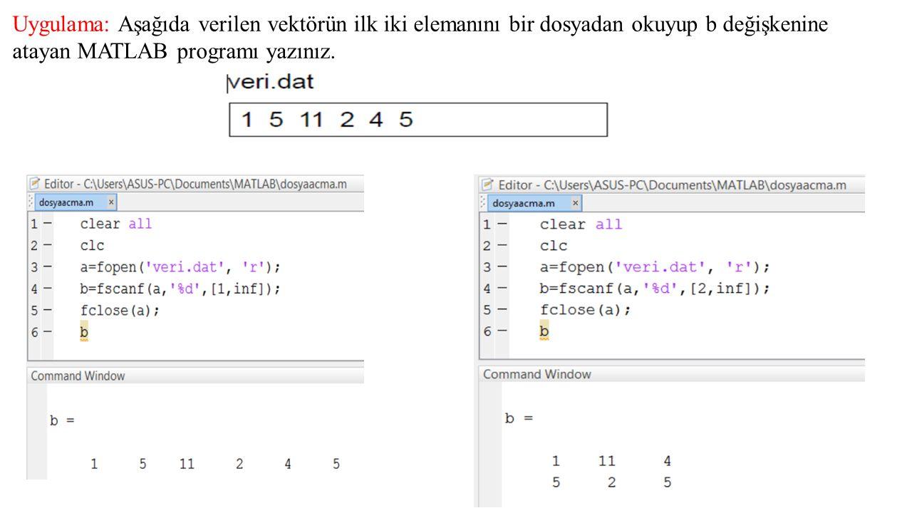 Uygulama: Aşağıda verilen vektörün ilk iki elemanını bir dosyadan okuyup b değişkenine atayan MATLAB programı yazınız.
