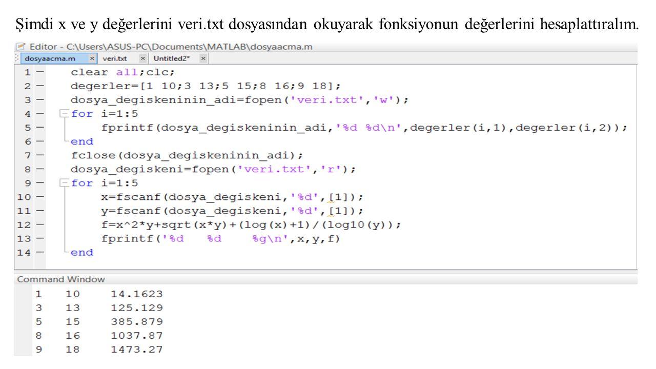 Şimdi x ve y değerlerini veri.txt dosyasından okuyarak fonksiyonun değerlerini hesaplattıralım.