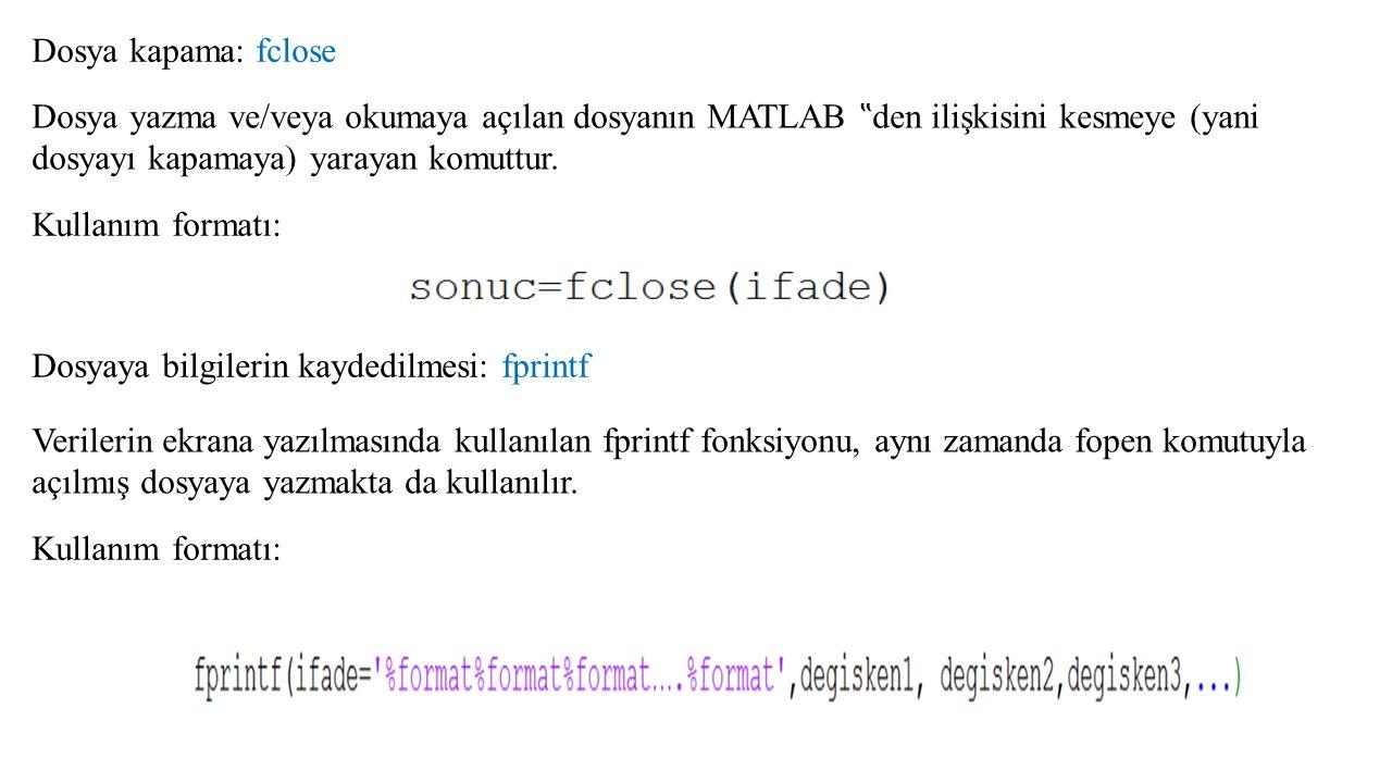 Uygulama: M=[1 2 3 4] şeklinde tanımlanan M dizisini (veya vektörünü) bir dosyaya kaydeden bir MATLAB programı yazınız