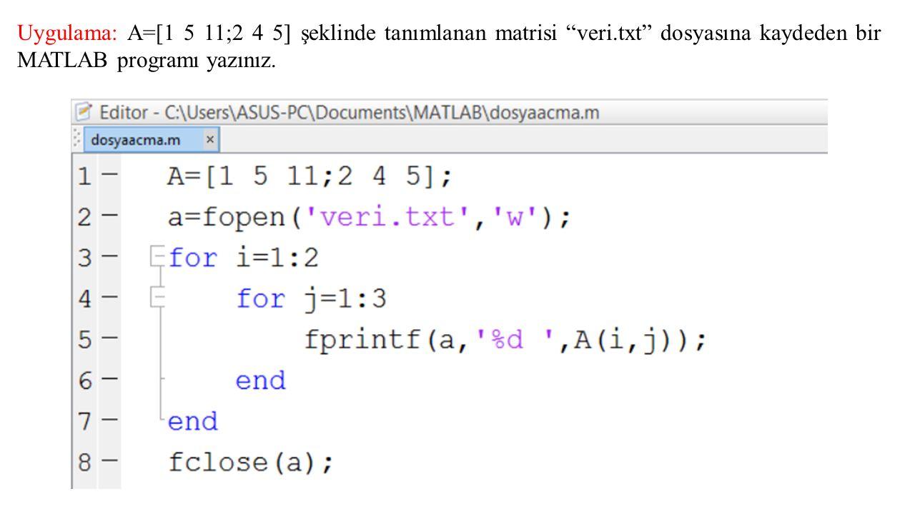 Uygulama: A=[1 5 11;2 4 5] şeklinde tanımlanan matrisi veri.txt dosyasına kaydeden bir MATLAB programı yazınız.