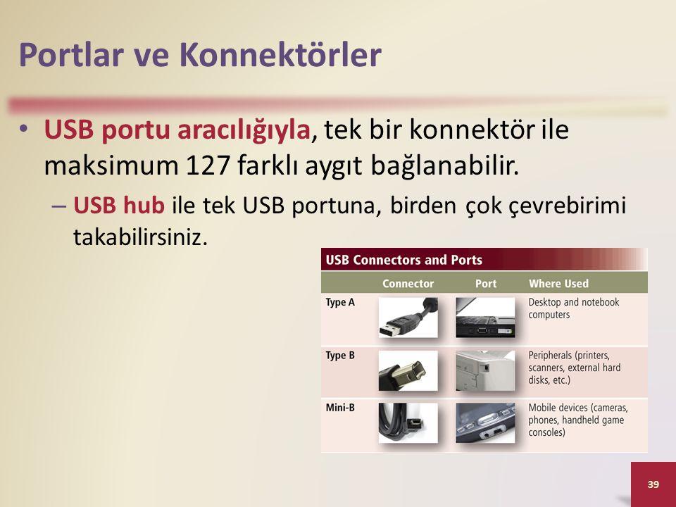 Portlar ve Konnektörler USB portu aracılığıyla, tek bir konnektör ile maksimum 127 farklı aygıt bağlanabilir.