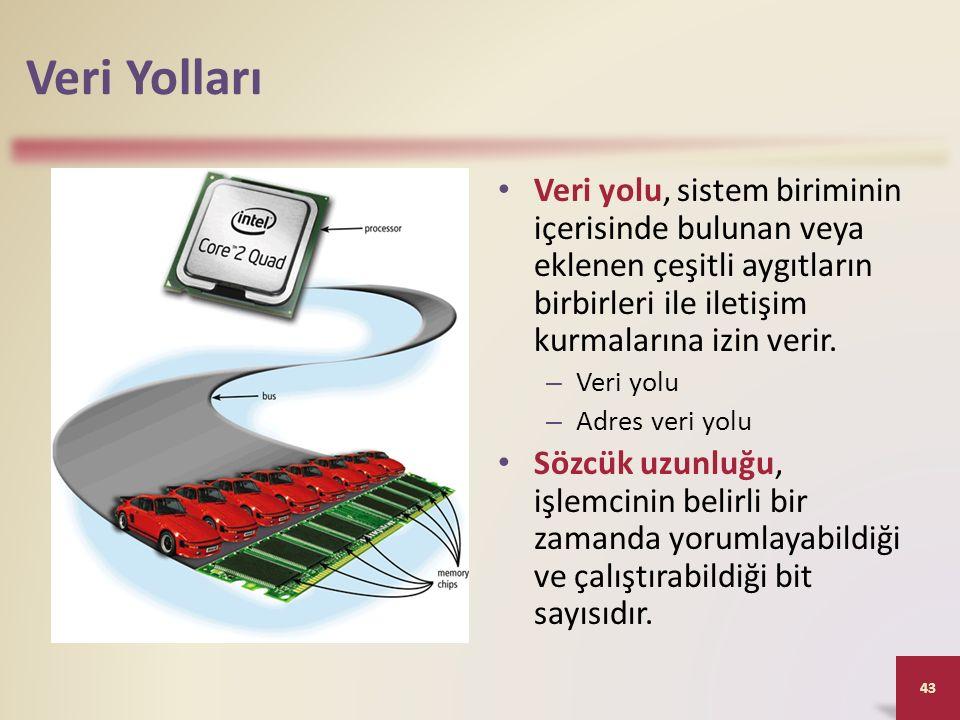 Veri Yolları Veri yolu, sistem biriminin içerisinde bulunan veya eklenen çeşitli aygıtların birbirleri ile iletişim kurmalarına izin verir.
