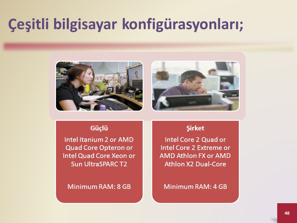 Çeşitli bilgisayar konfigürasyonları; Güçlü Intel Itanium 2 or AMD Quad Core Opteron or Intel Quad Core Xeon or Sun UltraSPARC T2 Minimum RAM: 8 GB Şi