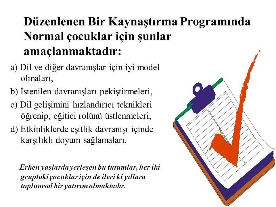 Düzenlenen Bir Kaynaştırma Programında Engelli Bireyler İçin Şunlar Amaçlanmaktadır: a) Özürlü çocukların okul düzenini tanımaları, b) Uyum sağlamaları, c) Okuldaki uygun davranış biçimlerini görmeleri, d) Normal çocuklarla nasıl iletişim kurabileceklerini öğrenmeleri,