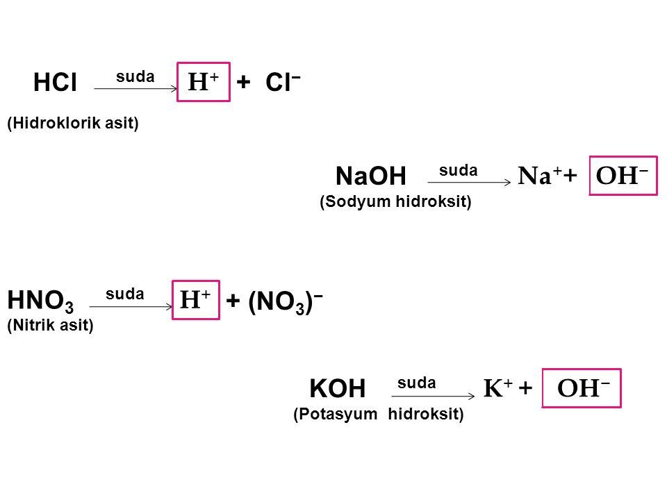 Asitleri ve bazları tanımanın tehlikesiz bir yolu da bunları suda çözmektir.Suda çözündüklerinde; Asitler H + iyonu Bazlar OH - iyonu verirler Asitler