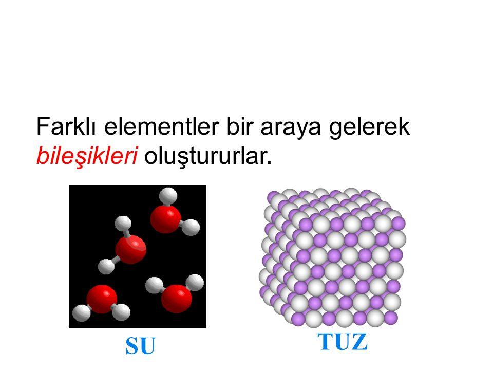 Farklı elementler bir araya gelerek bileşikleri oluştururlar. SU TUZ
