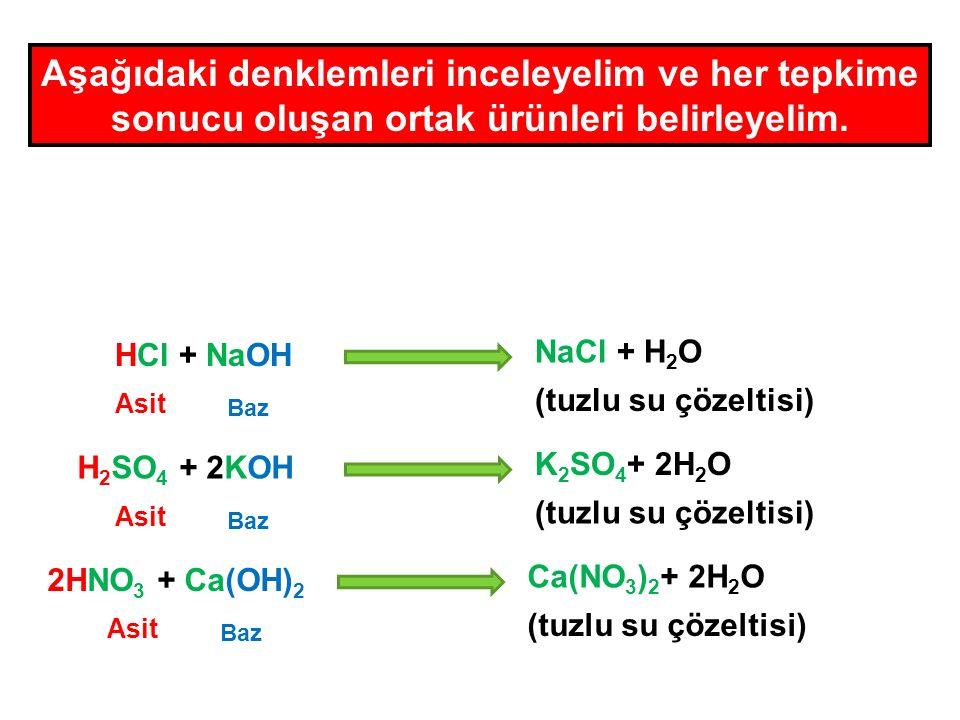 Asit + Baz Tuz + Su (çözelti) Bir asit ve bazın tepkimeye girerek su ve tuz oluşturmasına Nötralleşme tepkimesi denir.