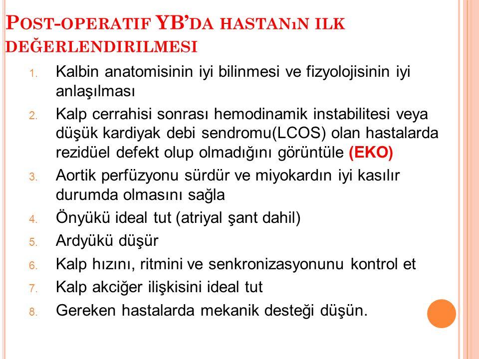 P OST - OPERATIF YB' DA HASTANıN ILK DEĞERLENDIRILMESI 1.