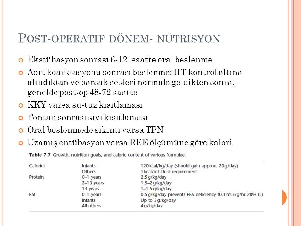 P OST - OPERATIF DÖNEM - NÜTRISYON Ekstübasyon sonrası 6-12.