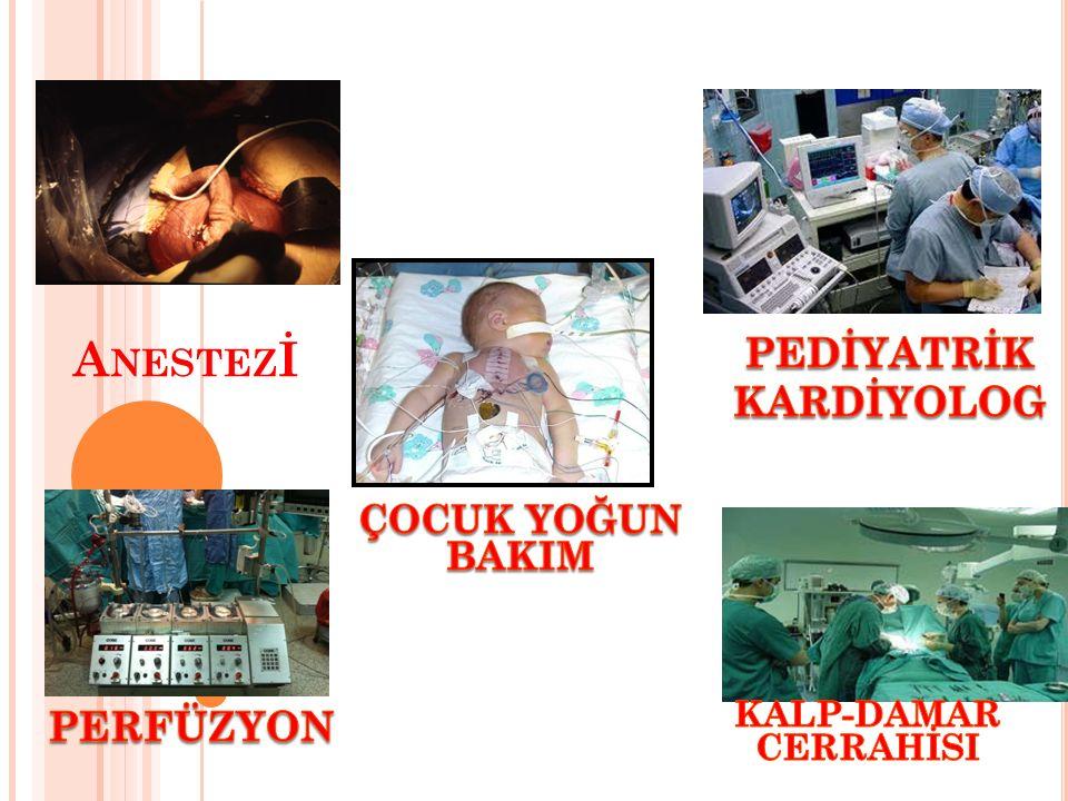 K ALP C ERRAHISI SONRASı M ONITORIZASYON VE Ö LÇÜMLER Kalp hızı, kan basıncı, intrakardiyak ölçümler Pulse oksimetre (SpO2) NIRS EKG ETCO2 Santral ısı ve ekstremite ısısı Kan şekeri, iyonize Ca, Arteryel kan gazları, pH ve laktat düzeyi Akciğer grafisi, kalp ve akciğer alanları Laboratuar incelemeleri, son organ fonksiyonları Ekokardiyografi CVP İdrar çıkışı BNP, Troponin I, CK-MB Miks venöz oksijen satürasyonu (SVO2)
