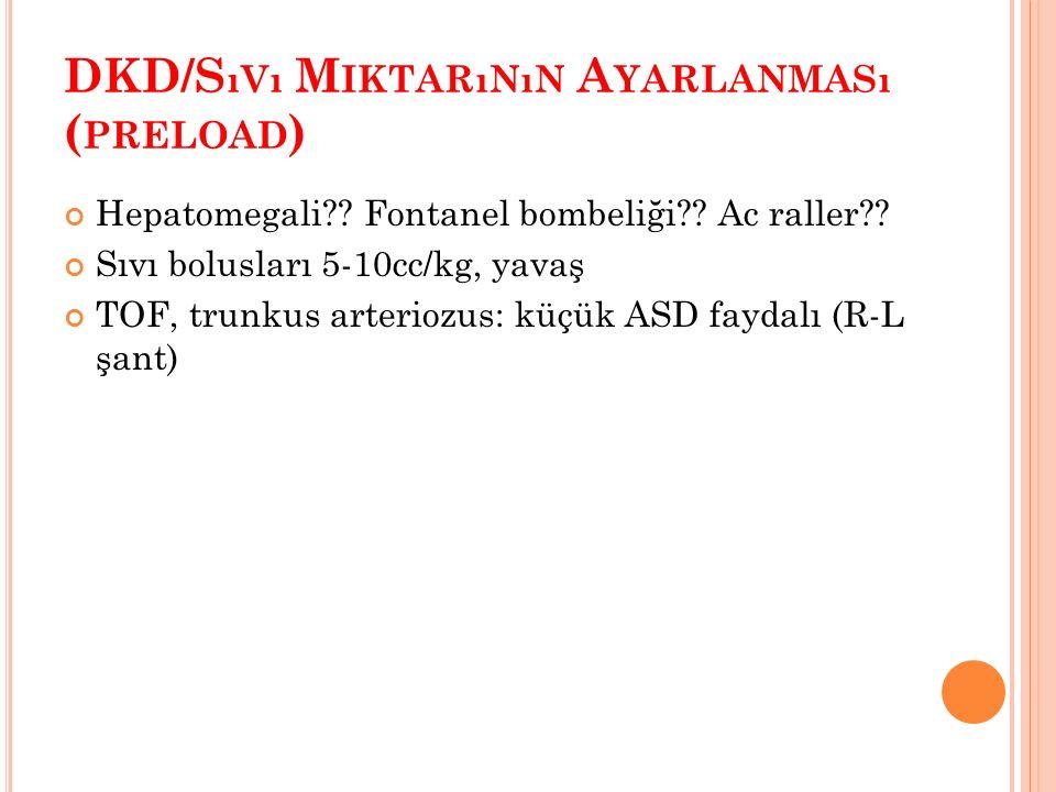 DKD/S ıVı M IKTARıNıN A YARLANMASı ( PRELOAD ) Hepatomegali .