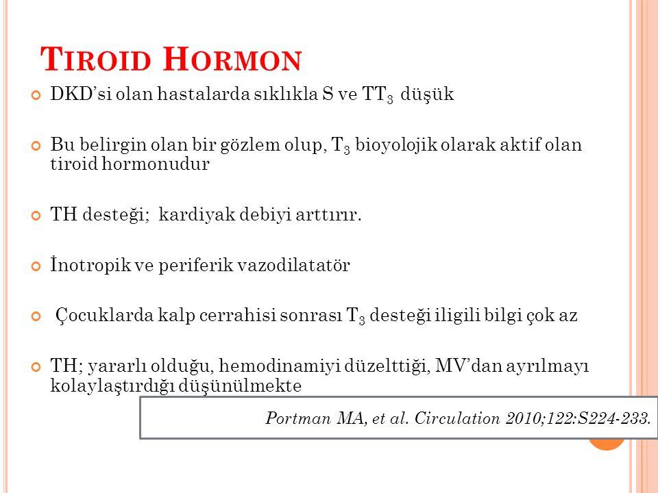 T IROID H ORMON DKD'si olan hastalarda sıklıkla S ve TT 3 düşük Bu belirgin olan bir gözlem olup, T 3 bioyolojik olarak aktif olan tiroid hormonudur TH desteği; kardiyak debiyi arttırır.