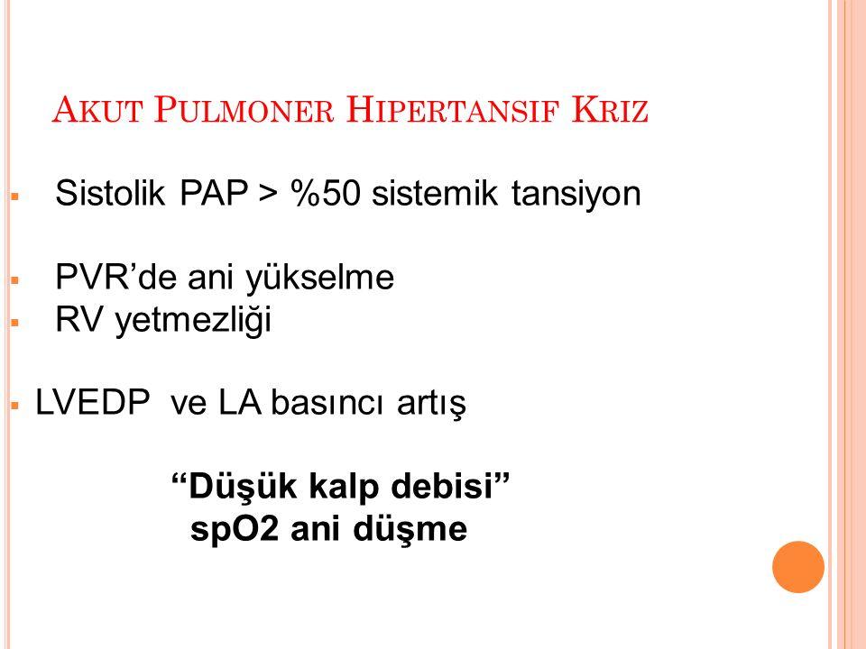 A KUT P ULMONER H IPERTANSIF K RIZ  Sistolik PAP > %50 sistemik tansiyon  PVR'de ani yükselme  RV yetmezliği  LVEDP ve LA basıncı artış Düşük kalp debisi spO2 ani düşme