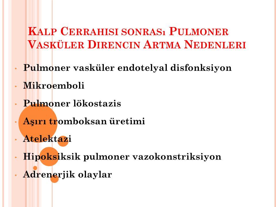 K ALP C ERRAHISI SONRASı P ULMONER V ASKÜLER D IRENCIN A RTMA N EDENLERI Pulmoner vasküler endotelyal disfonksiyon Mikroemboli Pulmoner lökostazis Aşırı tromboksan üretimi Atelektazi Hipoksiksik pulmoner vazokonstriksiyon Adrenerjik olaylar