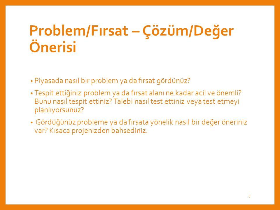 Problem/Fırsat – Çözüm/Değer Önerisi Piyasada nasıl bir problem ya da fırsat gördünüz.