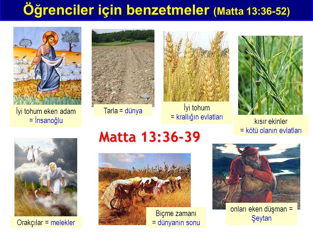 Öğrenciler için benzetmeler (Matta 13:36-52) İyi tohum eken adam = İnsanoğlu Tarla = dünya İyi tohum = krallığın evlatları kısır ekinler = kötü olanın