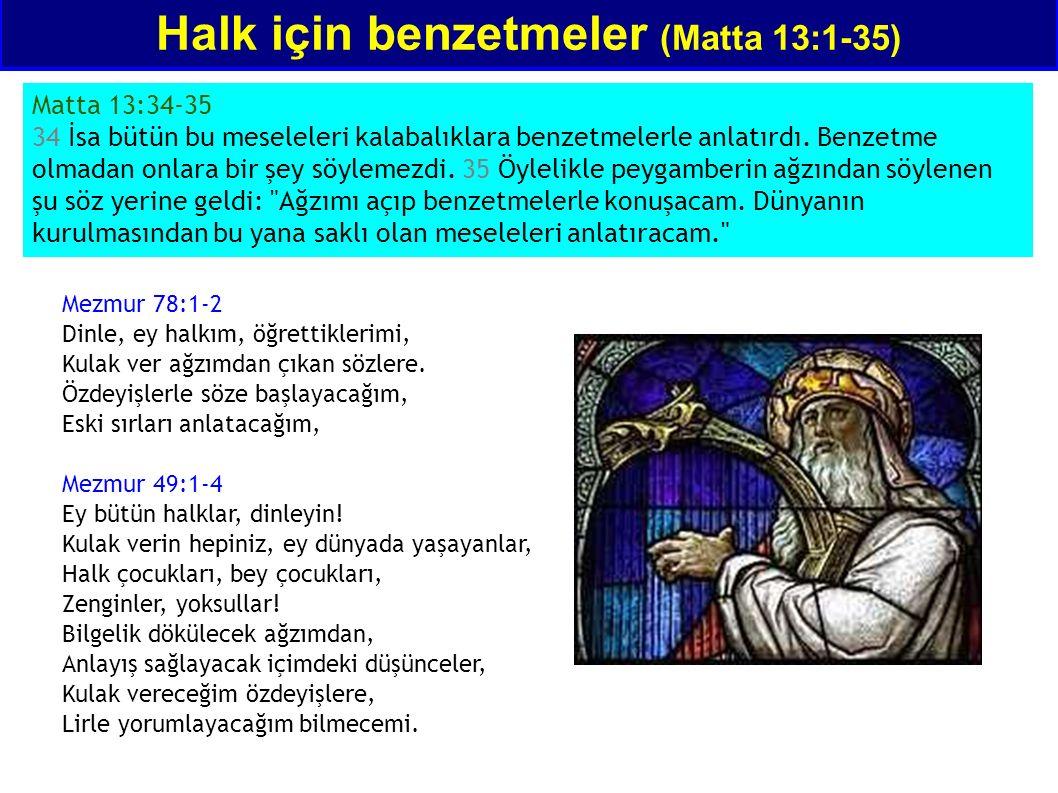 Matta 13:34-35 34 İsa bütün bu meseleleri kalabalıklara benzetmelerle anlatırdı. Benzetme olmadan onlara bir şey söylemezdi. 35 Öylelikle peygamberin