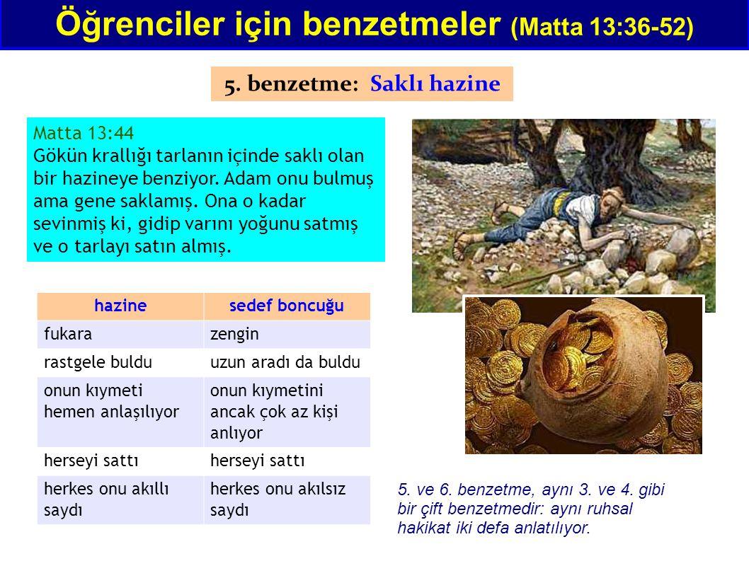 Matta 13:44 Gökün krallığı tarlanın içinde saklı olan bir hazineye benziyor. Adam onu bulmuş ama gene saklamış. Ona o kadar sevinmiş ki, gidip varını