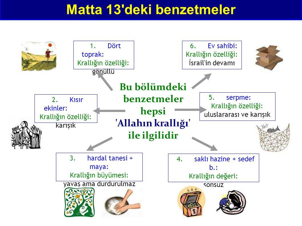 Matta 13'deki benzetmeler 1.Dört toprak: Krallığın özelliği: gönüllü Bu bölümdeki benzetmeler hepsi 'Allahın krallığı' ile ilgilidir 2.Kısır ekinler: