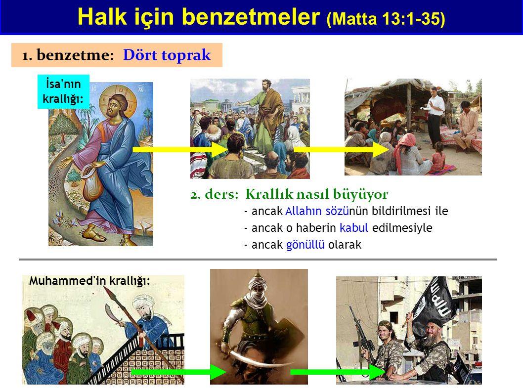 Halk için benzetmeler (Matta 13:1-35) Tarih boyunca hristiyanlar da bu öğretişe karşı gittiler - ancak Allahın sözünün bildirilmesi ile - ancak o haberin kabul edilmesiyle - ancak gönüllü olarak 312 - Konstantin: Bu sembolla zaferli olacaksın - Hristiyanlık devlet dini oluyor 1096-1272 Haçlı Seferler 1533 - Güney Amerika kılıçla hristiyanlaştırıldı yüzlerce sene başka öğretişleri çıkanları yaktılar 864 - bütün devleti hristiyanlatırmak (Boris I.