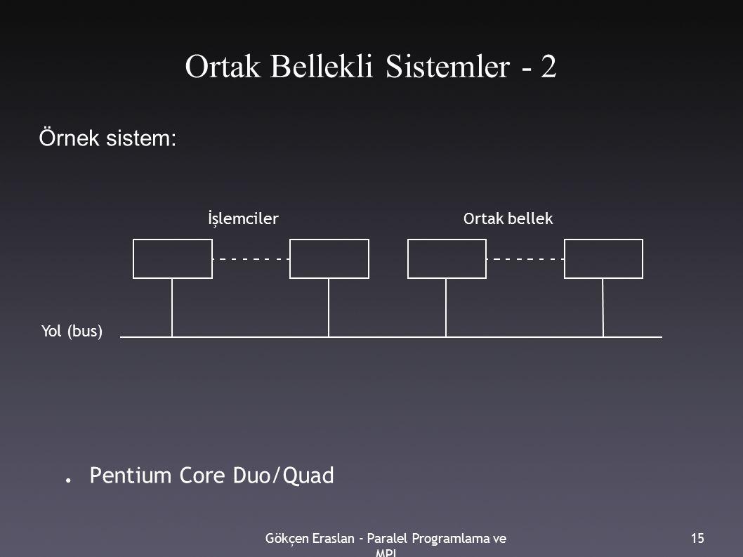 Gökçen Eraslan - Paralel Programlama ve MPI 15 Ortak Bellekli Sistemler - 2 ● Pentium Core Duo/Quad İşlemcilerOrtak bellek Yol (bus) Örnek sistem: