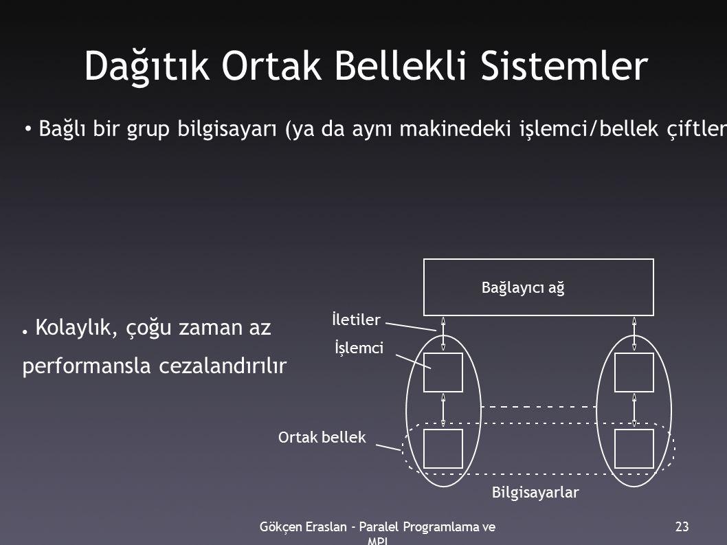 Gökçen Eraslan - Paralel Programlama ve MPI 23 Dağıtık Ortak Bellekli Sistemler Bağlı bir grup bilgisayarı (ya da aynı makinedeki işlemci/bellek çiftlerini), yerel belleklerin tümünü, tek bir ortak bellekmiş gibi tek adres uzayı içinde kullanacak şekilde biraraya getirilmesiyle oluşturulur.