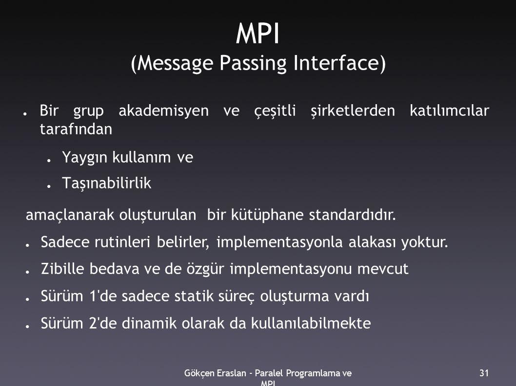 Gökçen Eraslan - Paralel Programlama ve MPI 31 MPI (Message Passing Interface) ● Bir grup akademisyen ve çeşitli şirketlerden katılımcılar tarafından ● Yaygın kullanım ve ● Taşınabilirlik amaçlanarak oluşturulan bir kütüphane standardıdır.