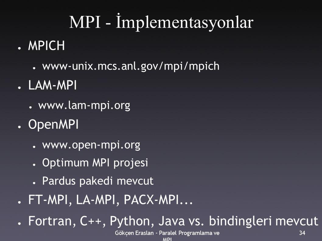 Gökçen Eraslan - Paralel Programlama ve MPI 34 MPI - İmplementasyonlar ● MPICH ● www-unix.mcs.anl.gov/mpi/mpich ● LAM-MPI ● www.lam-mpi.org ● OpenMPI ● www.open-mpi.org ● Optimum MPI projesi ● Pardus pakedi mevcut ● FT-MPI, LA-MPI, PACX-MPI...