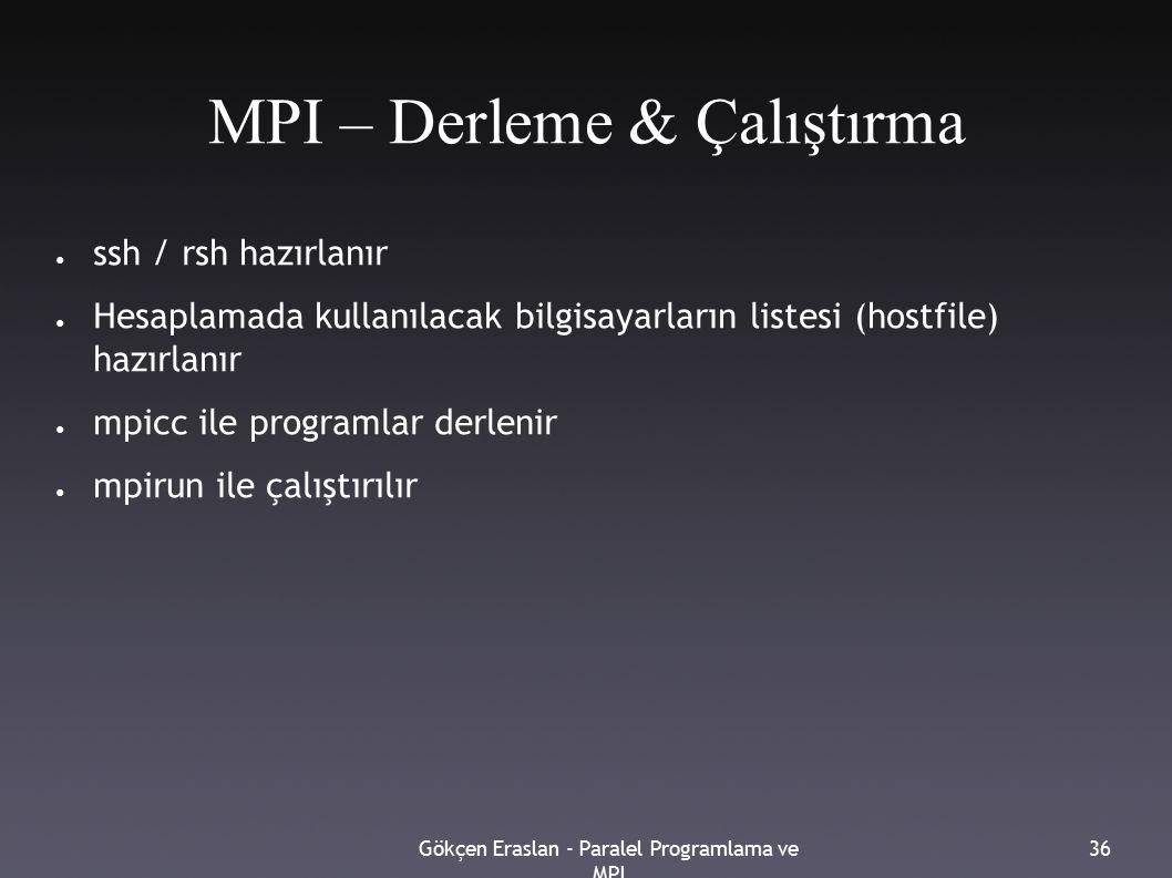 Gökçen Eraslan - Paralel Programlama ve MPI 36 MPI – Derleme & Çalıştırma ● ssh / rsh hazırlanır ● Hesaplamada kullanılacak bilgisayarların listesi (hostfile) hazırlanır ● mpicc ile programlar derlenir ● mpirun ile çalıştırılır