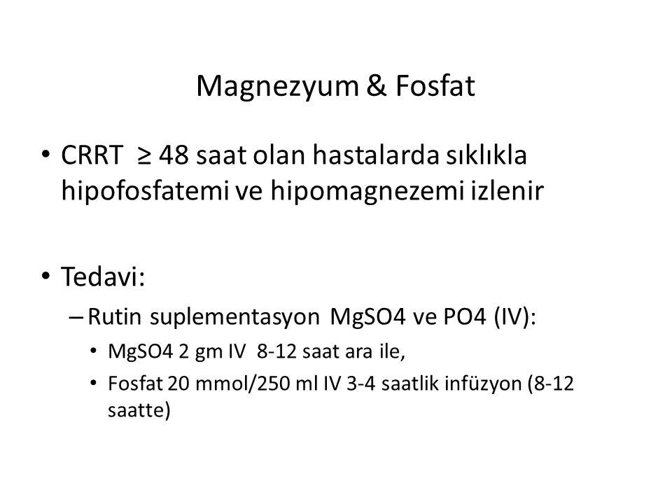 Magnezyum & Fosfat CRRT ≥ 48 saat olan hastalarda sıklıkla hipofosfatemi ve hipomagnezemi izlenir Tedavi: – Rutin suplementasyon MgSO4 ve PO4 (IV): Mg